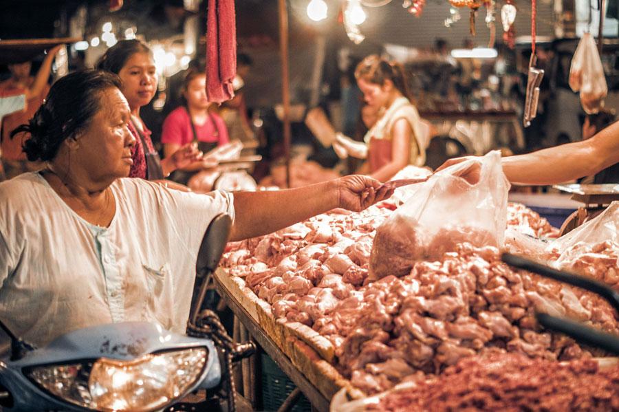 Nachts Fleischverkauf